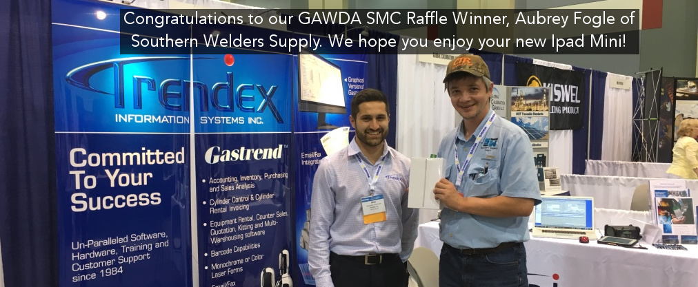 Congratulations to Aubrey Fogle of Southern Welders Supply on winning our Ipad Mini prize giveaway at the GAWDA SMC 2016!